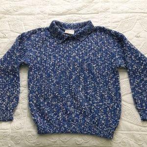 Vintage 80s Blue Marbled Sweater Mock neck Sz. M